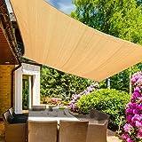 Emooqi Tenda a Vela Rettangolare, Parasole Rettangolare 2x3m,Vela Ombreggiante/Tende da Sole per Esterno, Protezione Raggi UV, HDPE Tende a Vela per Terrazzo Balcone Giardino Piscina -Colore Sabbia