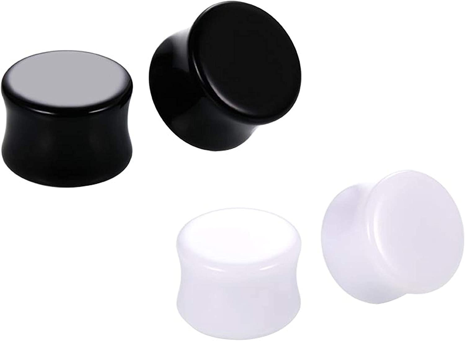 HQLA 2 Pairs White/Black Solid Acrylic Ear Plugs Flesh Tunnels Double Flared Expander Stretcher Piercing Jewelry