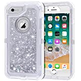 iPhone 6S Plus Case, iPhone 6 Plus Case, Anuck 3 in 1 Hybrid Heavy Duty Defender Case Sparkly Floating Liquid Glitter Protective Hard Shell Shockproof TPU Cover for iPhone 6 Plus/6S Plus - Silver