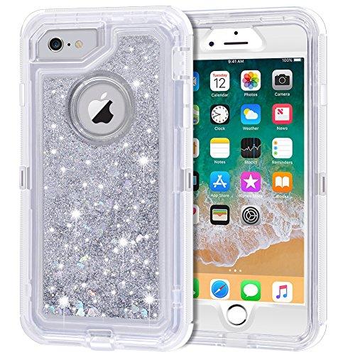 Anuck iPhone 6S此外案例,iPhone 6加案例,3合1混合重型保护套闪闪发光的浮液闪粉保护硬盘外壳防震TPU封面为iPhone 6加/ 6S加 - 银