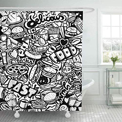 Leona Chesterton Stoff Duschvorhang mit Haken Bier Fast Food Doodle Kaffee Pizza Baguette Brötchen Burrito Kuchen Candy Extra langes dekoratives Badezimmer Geruchlos umweltfre&lich