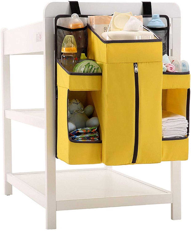 Storage Bag Baby Diaper Organizer Nursery Organizer Hanging Diaper Organizer Hang on Crib Wall Cabinet Multi-Purpose Organization-Large Capacity with 8 Pokets,Yellow