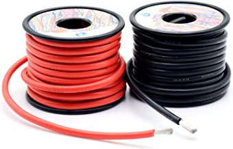 10 awg 5.2mm² Silicone Electrical Wire Cables 50 Feet [25ft Black and 25ft Red] 10 Gauge High Temp 200 deg C 600V Soft and Flexible Hook Up oxygen free Strands Tinned copper wire Model Battery Cable