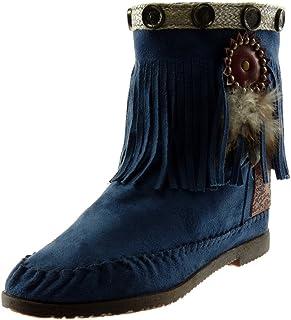 c2b1459322933 Angkorly - Chaussure Mode Bottine Botte Bottes Indiennes Folk Slip-on Femme  Frange Plume clouté