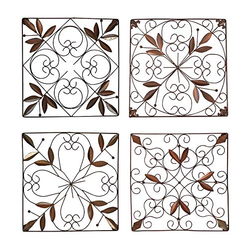 Iron Wall Medallion - Authentic Wall Decor (Square Set of 4)