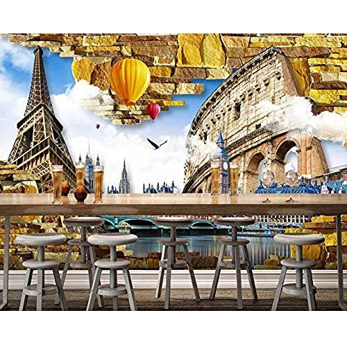 Vintage Architectuur Fotobehang Eiffeltoren Romeinse Stad 3D muurschildering Wall Bar Restaurant muurschildering Wallpaper Grijs Muursticker Border Woonkamer voor Slaapkamer Rose Blauwe muurschildering Kinderen 300 cm.