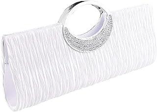 Damen-Handtasche von ClorisLove, Unterarmtasche aus Satin mit Strass-Steinen besetzt, plissiert, mit Schulterkette, zeitlo...