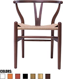 2xhome - Wishbone Wood Arm Chair Armchair Modern Walnut with Natural Woven Seat Dining Room Chair (Espresso)