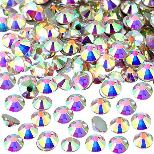 1440 Pack Crystal Flat Back Rhinestone Round Diamante Gems, Non-Self-Adhesive (Crystal AB, 5 MM)