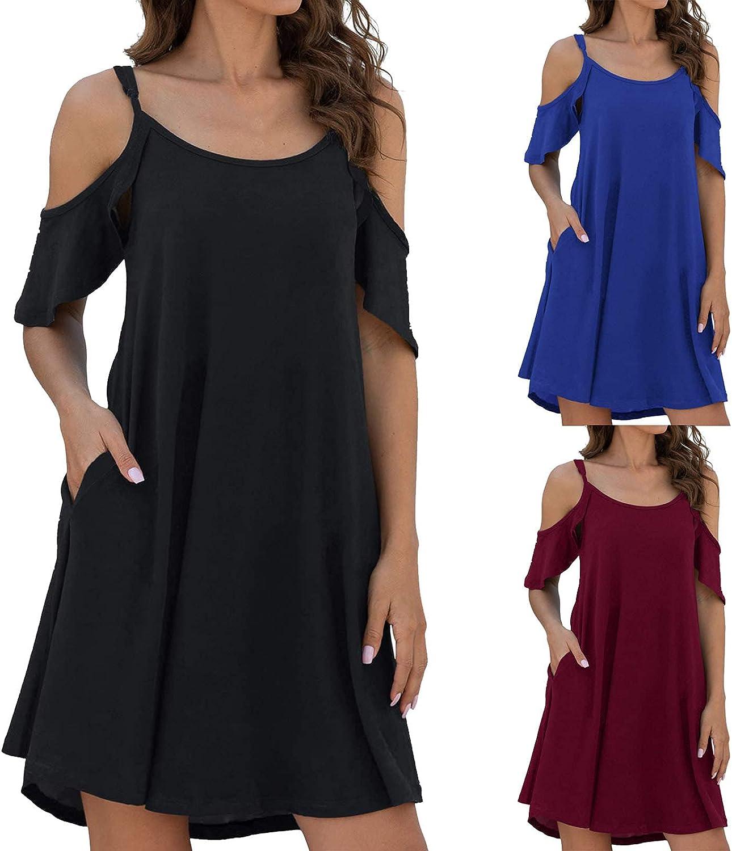 Aiouios Summer Dresses for Women, Womens Cold Shoulder Dresses Solid Color Strap Dress V-Neck Short Sleeve Sun Dresses