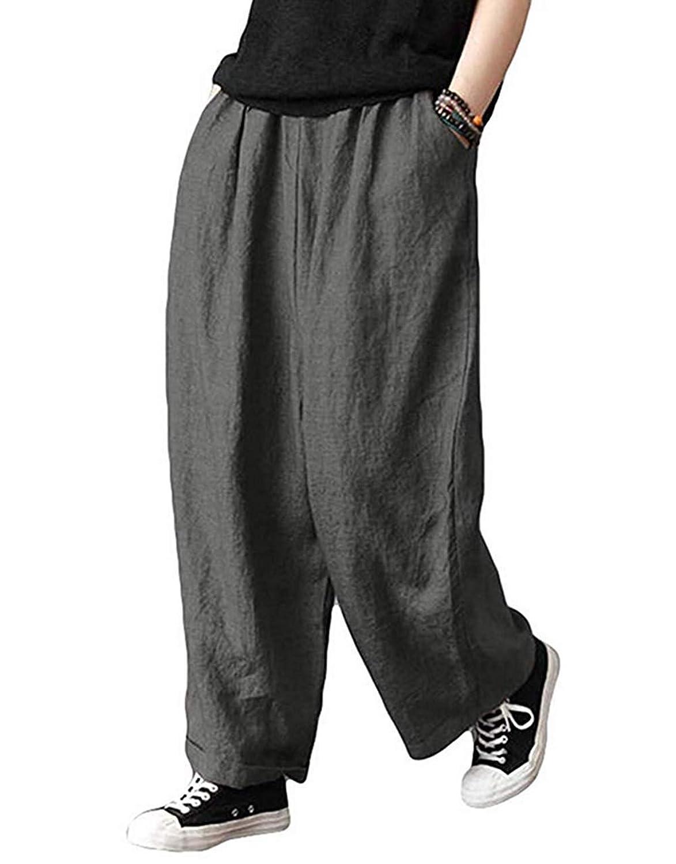 レディース ロングパンツ ワイドパンツ 無地 綿麻 リネン 大きいサイズ 春夏秋 カジュアル ホーム服 ゆったり
