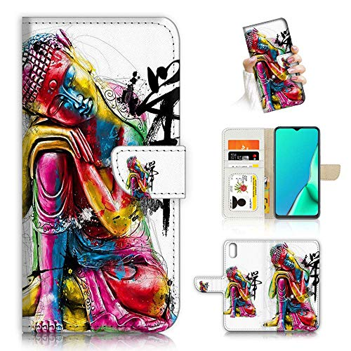 for iPhone Xs MAX, Fancy Art Wallet Flip Phone Case Cover, A23014 Buddha