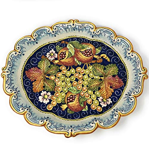 CERAMICHE D'ARTE PARRINI - Italian Ceramic Serving Tray Plate Decorated Fruit Art Pottery Hand Painted Made in ITALY Tuscan