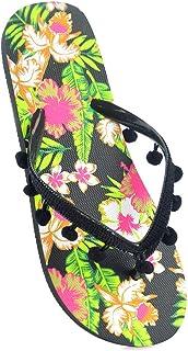 Womens/Ladies Floral Print Flip Flops (Black Pompom