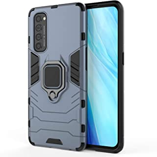 EasyLifeGo for OPPO Reno 4 Pro Case Hybrid Heavy Duty Armor Dual Layer Anti-Scratch Case Cover with Kickstand, Blue
