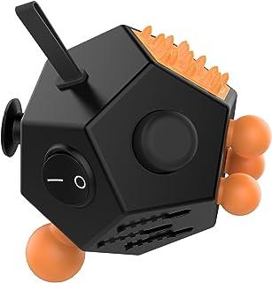 フィジェットキューブ - ATiC Fidget Cube 12面あり ストレス解消キューブ リリーフ ルービックキューブ おもちゃ 特に強迫性障害の自閉症に見舞われている大人、子供にお勧め(推奨最少年齢:12)集中力を高める道具 手持ちポケットゲーム BLACK