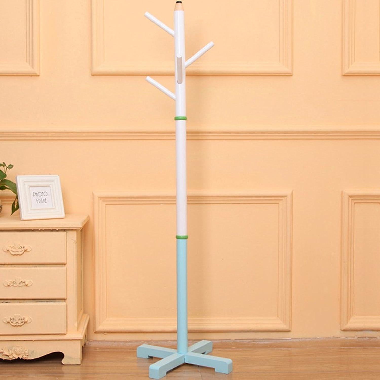 Solid Wood Floor Hangers Interior Bedroom Living Room Creative Clothes Rack Racks Shelves Shelves (color   bluee)