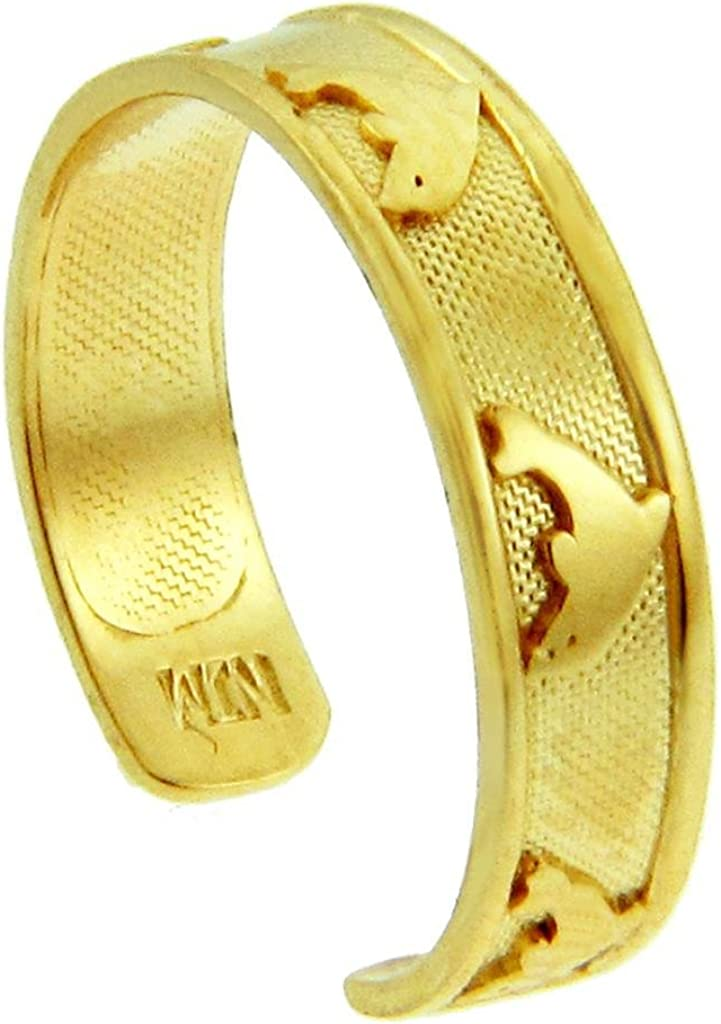 Bold Dolphin Yellow Gold Toe Ring
