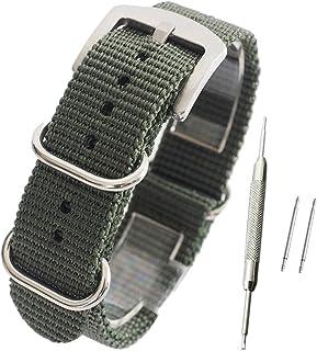 【カーキ 20mm 厚み1.8mm】NATOタイプ ナイロン ベルト ストラップ 腕時計 11Straps【バネ棒外しセット】