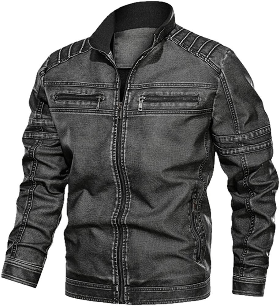 Men's autumn/winter leather motorcycle jacket large casual wear