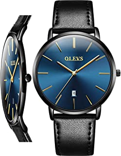 Men's Watch (Luxury Upgrade Version),Thin Mens Watches,Waterproof Leather Watch for Men,Fashion Classic Slim Thin Wrist Watches, Simple Men Dress Watch with Date,Minimalist Quartz Casual Watch
