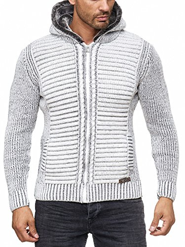 Reslad Herren Strickjacke warme Kapuzenjacke Fell-Kapuze Winter-Jacke RS-18002 Weiß S
