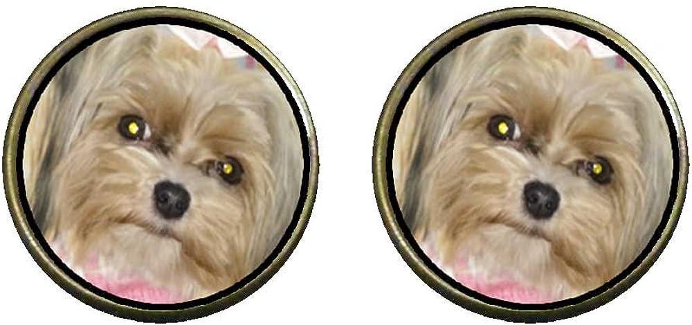 GiftJewelryShop Bronze Retro Style Shih Tzu Dog Photo Clip On Earrings 14mm Diameter
