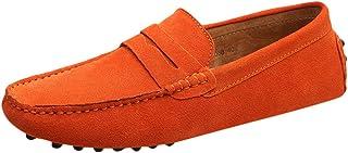 Mocassins en Daim Hommes Loafers Casual Vintage Slip-on Bateau Baskets Mode Basses LéGèRes Confort Chaussures De Ville Flats