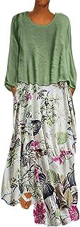 LOPILY 2019 Autumn Work Dress Women Vintage Print Patchwork O-Neck Two Pieces Plus Size Long Sleeve Maxi Dress Cocktail Dress