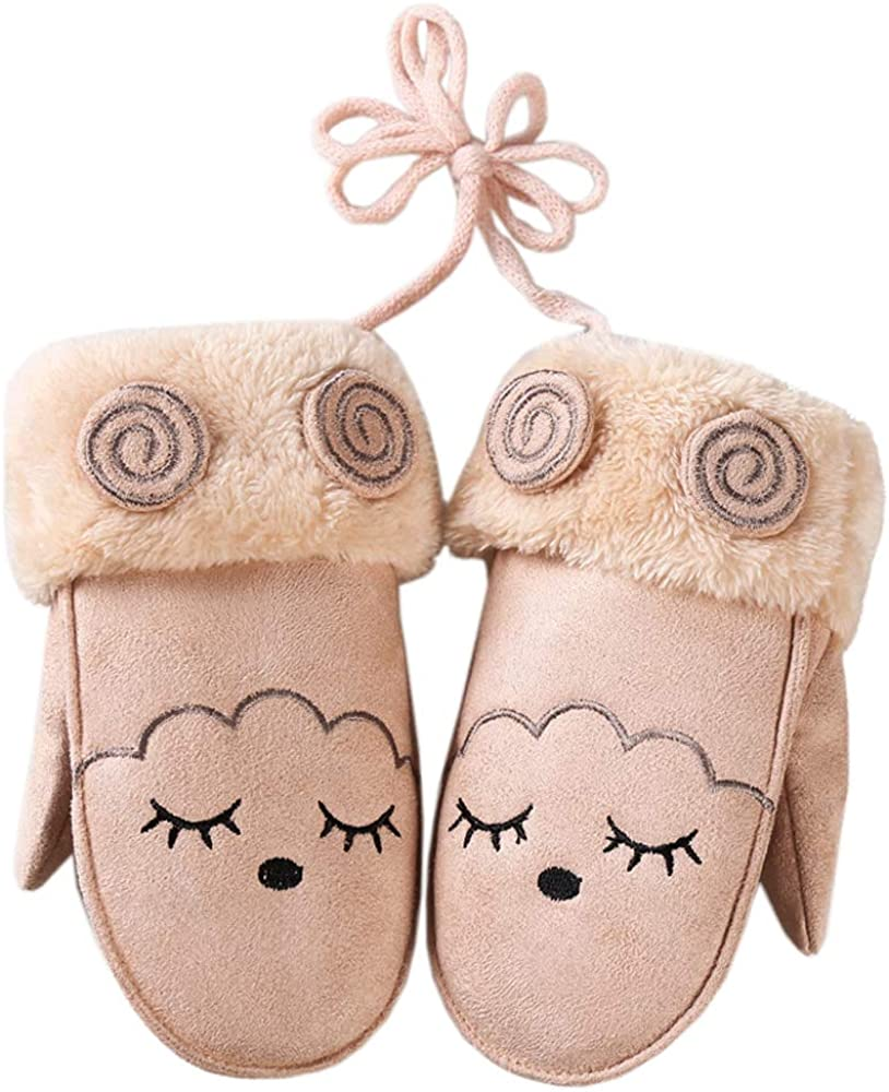 Xinqiao Kid's Winter Gloves Neck Hanging Snow Ski Mittens Warm Plush Lining