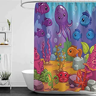 Shower Curtains Teal and Gray Whale Decor Collection,Underwater World Aquarium Cartoon Octopus Reef Sand Seaweed Stones Bubbles Design,Purple Blue Orange W65 x L72,Shower Curtain for Bathroom