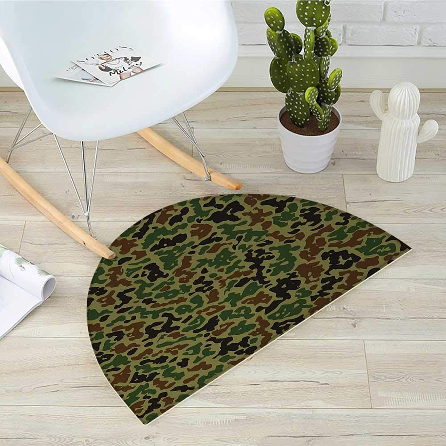 Camo Semicircular CushionSummer Camouflage Pattern Grungy Texture Hidden in Jungle Retro Style Print Entry Door Mat H 35.4  xD 53.1  Khaki Green Brown