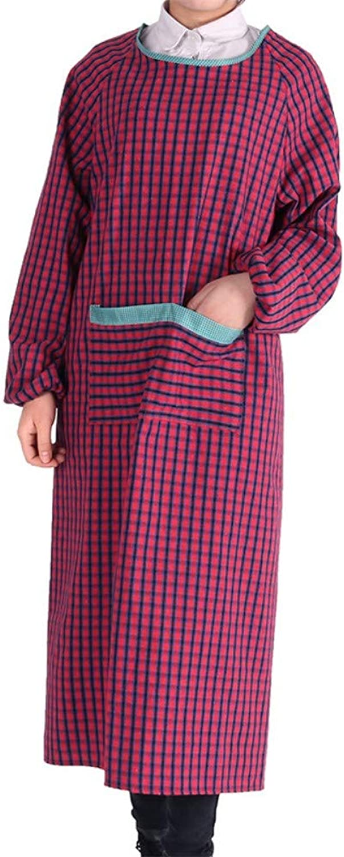 comprar descuentos IBathUS Moda Delantal de Manga Larga pao pao pao de algodón Anti-aderezo con Vestidos de Manga de la Cocina Monos Adultos Abrigo a Cuadros  70% de descuento