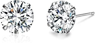 Platinum Plated Sterling Silver Stud Earrings Made with Swarovski Crystals