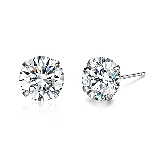 6cc9fe27a SBLING Platinum Plated Sterling Silver Stud Earrings Made with Swarovski  Crystals