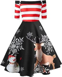 E-Scenery Christmas Off Shoulder Dresses Womens Elk Print Stripe Vintage Evening Party Flare Dress