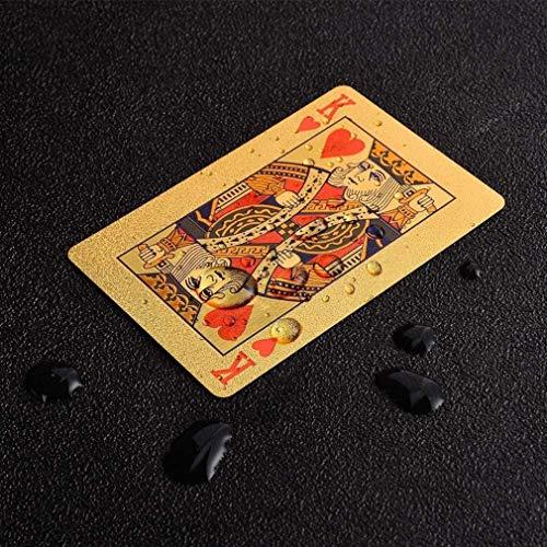KAHEIGN 2 Baraja de Naipes, Papel de Aluminio 24k Cartas de Póker Impermeables Naipes de Diamantes Herramienta Profesional Clásica de Trucos de Magia