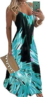 WOOSEN Plus Size Women's Casual Spaghetti Maxi Dresses Sexy Bodycon Swing Sundress Summer Dress