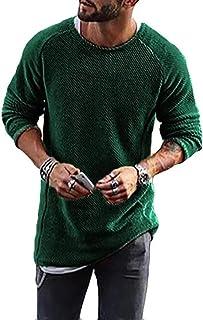 QinWenYan Camisetas para Hombre Tejer Color Sólido del O-Cuello De La Camisa De Manga Larga Casual Regular Fit Hombres De ...