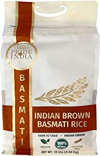 Pride Of India - Extra Long Indian Premium Brown Basmati Rice, 10 Pound (4.54 Kilo) Reclosable Bag - Naturally Aromatic, Aged, Flavorful, Slender, Non Sticky Whole Grains - 100+ Servings - Great Value