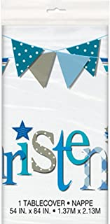 Unique Party 52053 - Plastic Blue Bunting Christening Tablecloth, 7ft x 4.5ft