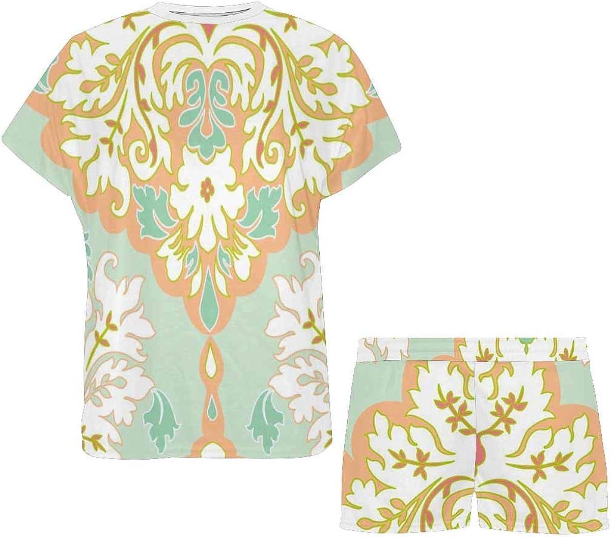 INTERESTPRINT Floral Damask Pattern Women Sleepwear Short Sleeves Pajama Sets