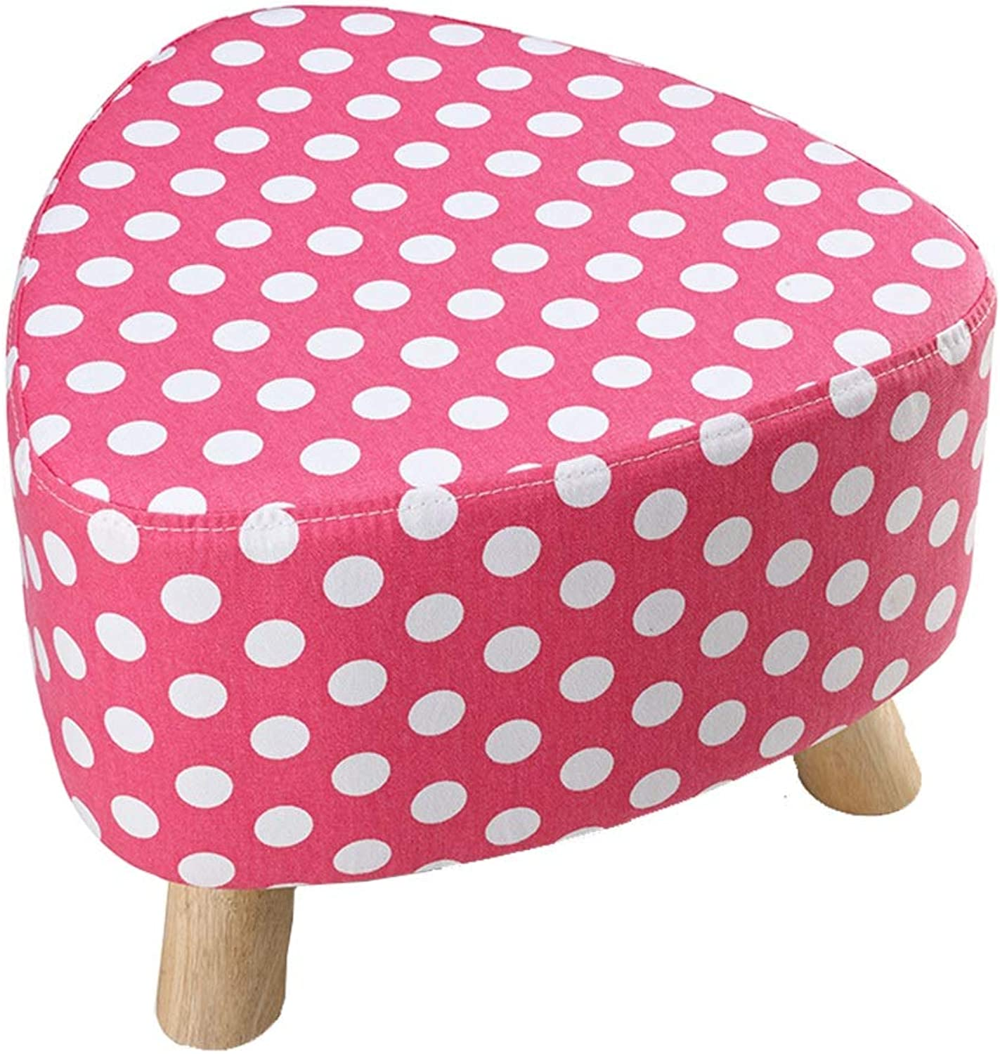 GWM Sofa Stool Three-Legged Small Stool - Washable and Changeable shoes Stool European Fabric Sofa Bench Wear shoes Low Stool Solid Wood Pier (color   D)