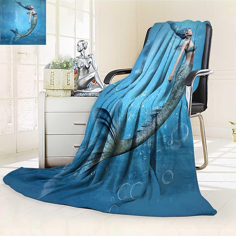 YOYIHOME Original Luxury Duplex Printed Blanket,Mermaid Decor Mermaid Fishtail Floating Bubbles Mythical Creature Fairy Ocean Life Art Extra Soft, Plush, Fluffy, Warm W59 x H47