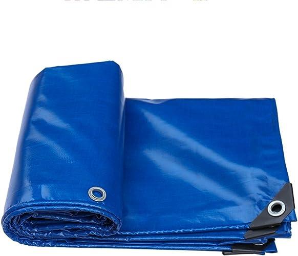 HU Toile d'ombrage de Tente de bache de Pluie Toile de Prougeection en Plastique Bleue imperméable et antipoussière 550 G M2, Bleu (Taille   5x6m)