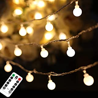 AMERTEER Christmas String Lights, 50 Led 17.4 ft Globe Fairy Lights with Remote Control 8 Modes Dimmable Extendable Twinkl...