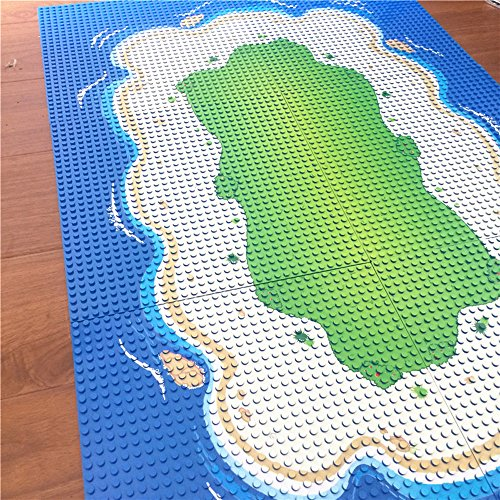 Modbrix Bausteine Insel 6 x Grundplatte Inselplatte Set 32 x 32 Noppen Bauplatte, 25.5 x 25.5 cm