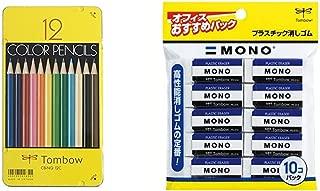 トンボ鉛筆 色鉛筆 NQ 12色 CB-NQ12C &  消しゴム MONO モノPE01 10個 JCA-061