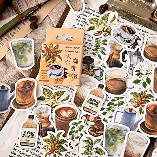 BLOUR 46 Stück/Packung Über Kaffee Serie Aufkleber Tagebuch Ästhetische Reise Aufkleber Dekorative Aufkleber