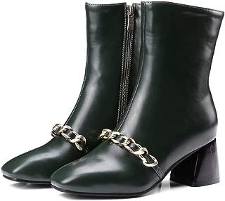 Drew Toby Women Block Heel Short Bootie Chain Decor Side Zipper Faux Leatehr Warm Comfort Mid Calf Boots